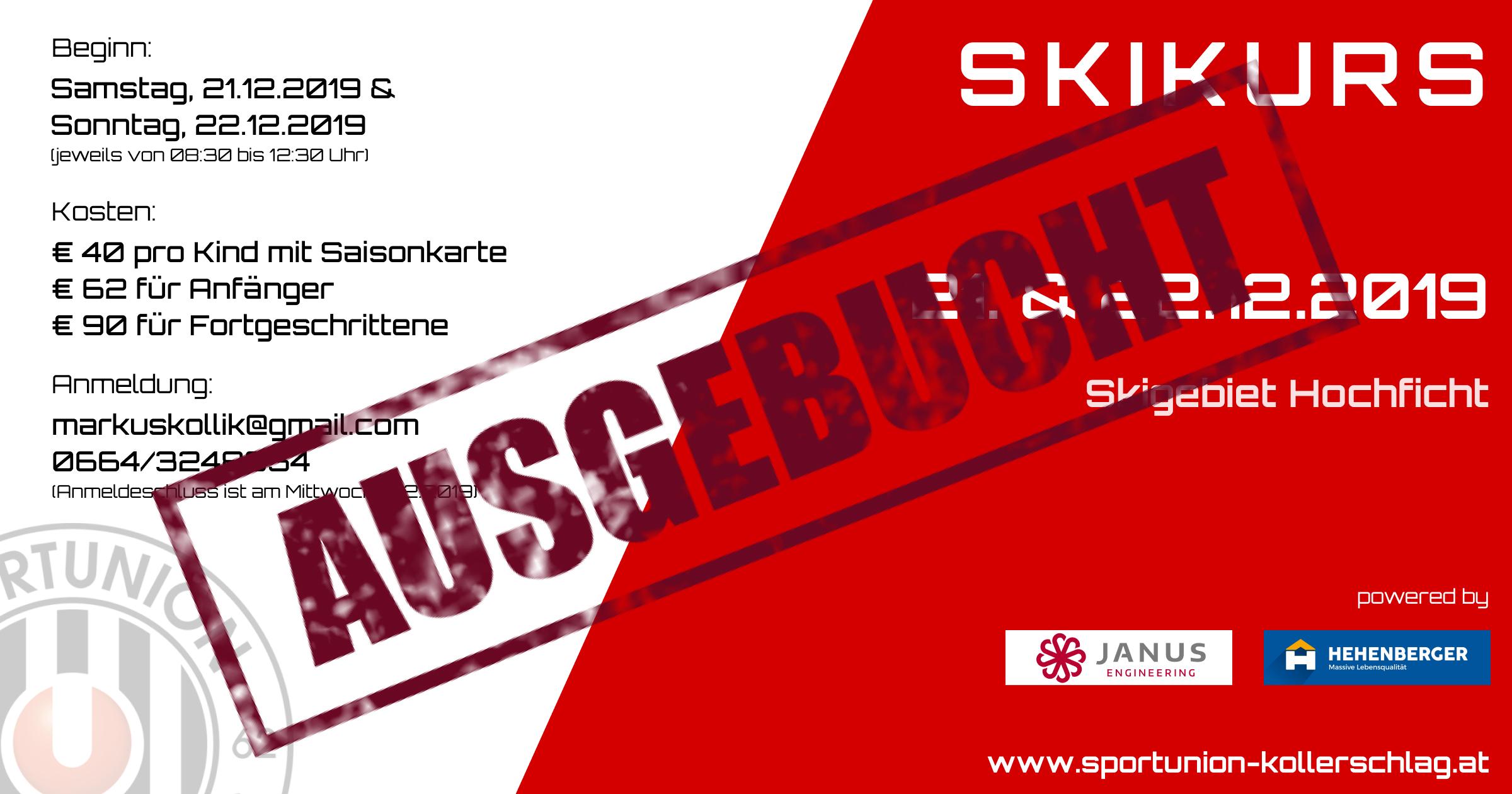 Der Skikurs Ende Dezember 2019 ist bereits ausgebucht