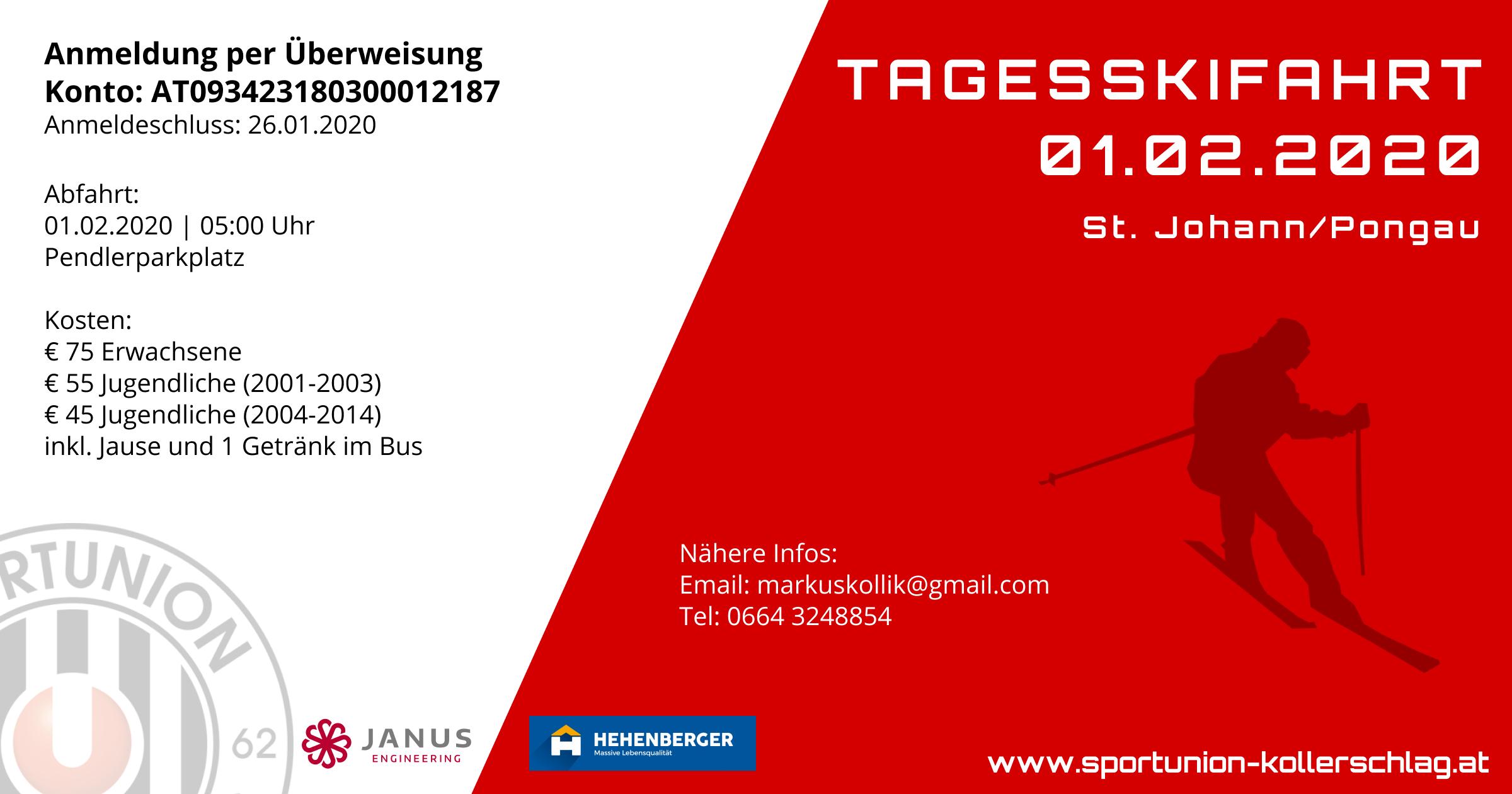 Tagesskifahrt nach St. Johann/Pongau am Samstag 01. Februar 2020